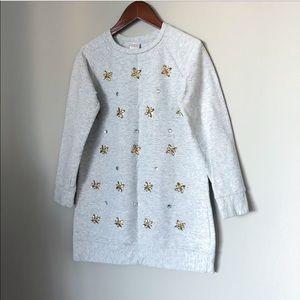GYMBOREE crystal sweatshirt dress drey girl cotton